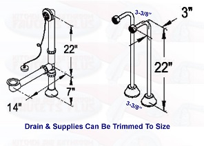 "Bathroom Faucet Measurements chrome clawfoot tub faucet add-a-shower kit w/""d""-ring curtain rod"
