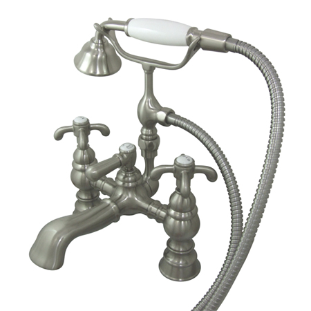 Kingston Brass Deck Mount ClawFoot Tub Faucet Hand Shower Satin Brushed