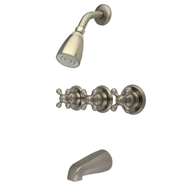 Brushed Satin Nickel 3 Handle Combination Bathroom Tub Shower Diverter